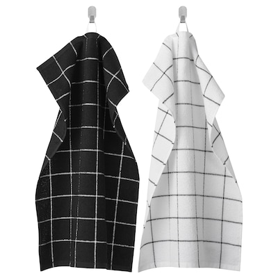 "KUNGSKAKTUS dish towel check pattern/black/white 24 "" 16 "" 2 pack"