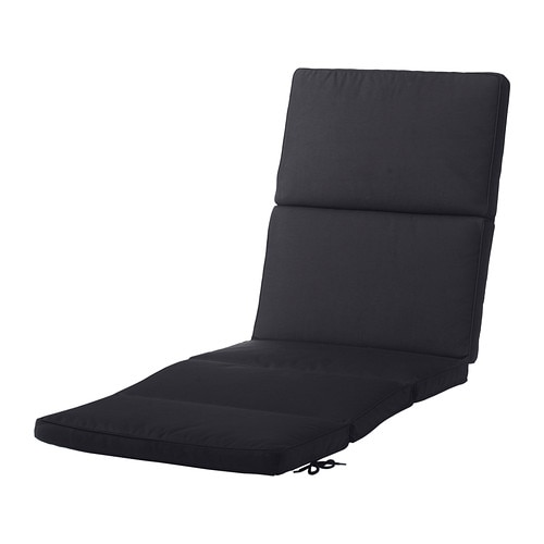 KUNGSÖ Chaise pad IKEA Ties and a strap keep the sun lounger pad firmly in place.  The color stays fresh longer as the cover is fade resistant.