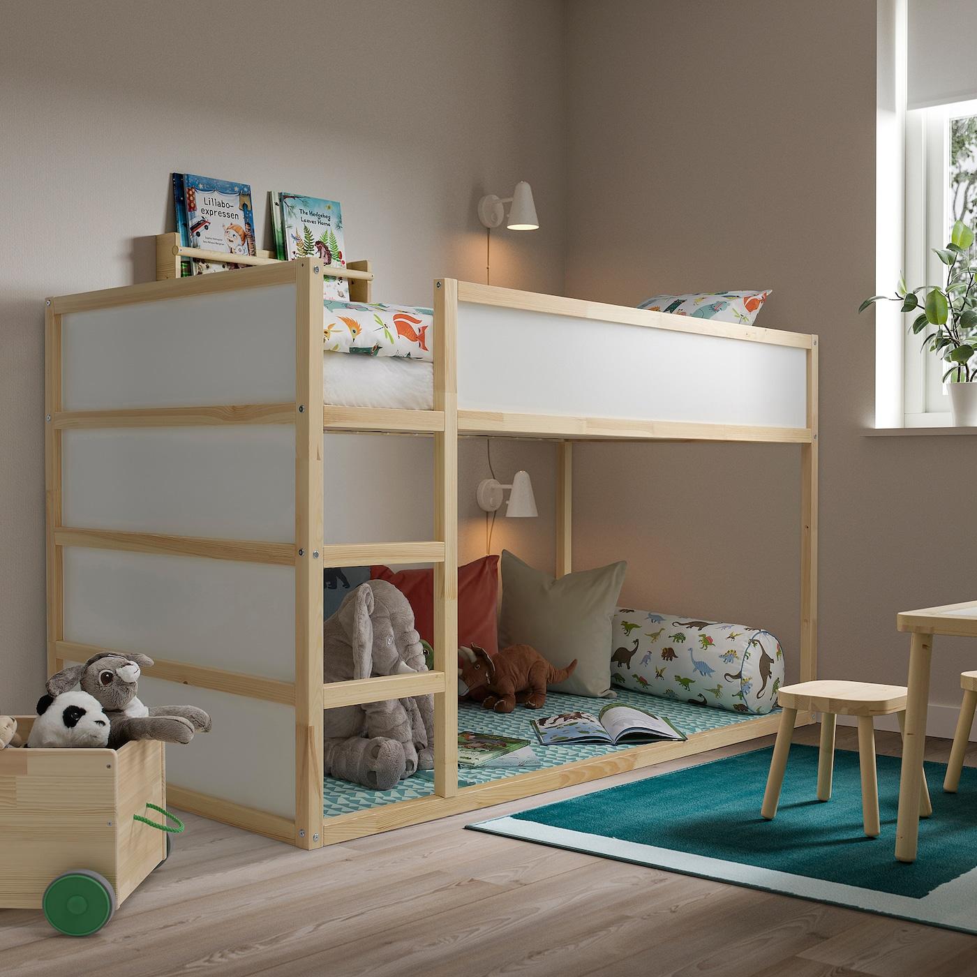 KURA Reversible bed, white/pine, Twin