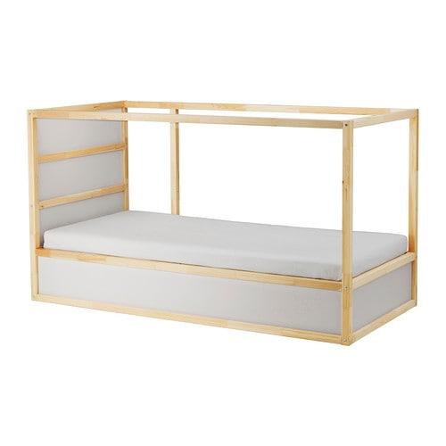 KURA Reversible Bed, White, Pine White/pine Twin