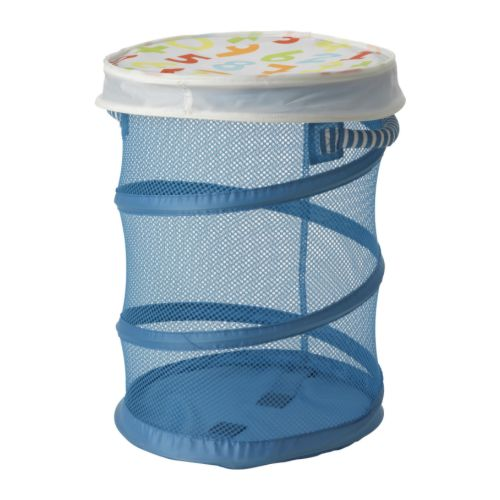 KUSINER Mesh basket with lid IKEA Easy to see what's inside through the net.  Press together to save space when not in use.