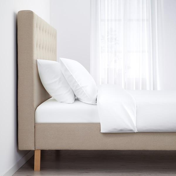 KVALFJORD Bed frame, Risane natural, Queen
