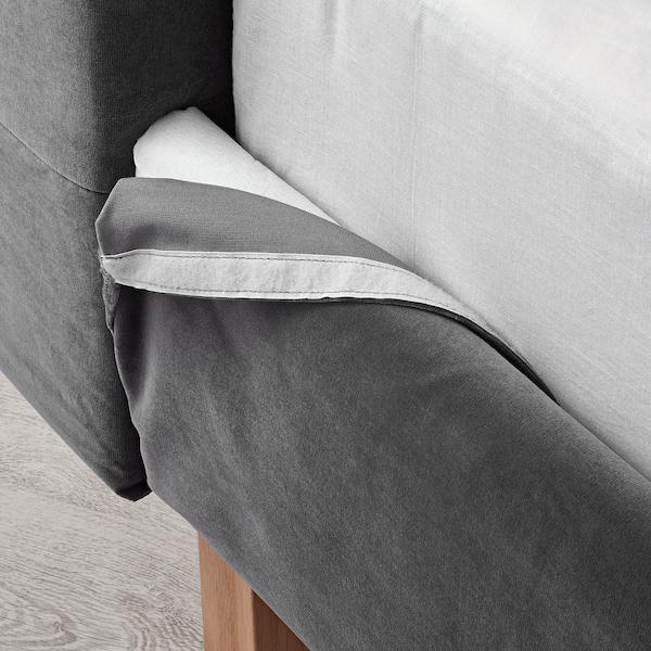 """KVALFJORD bed frame Sandbacka dark gray/Luröy 86 5/8 """" 78 3/4 """" 49 1/4 """" 58 5/8 """" 7 7/8 """" 79 1/2 """" 76 """""""