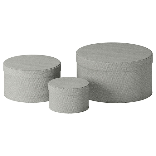 KVARNVIK box, set of 3 gray