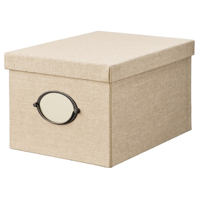 KVARNVIK Storage box with lid, beige, 9 ¾x13 ¾x7 ¾ ""