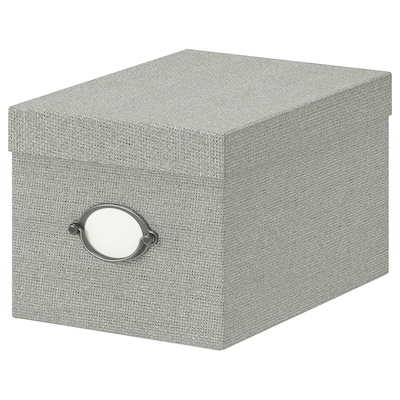 KVARNVIK Storage box with lid, gray, 7x9 ¾x6 ""