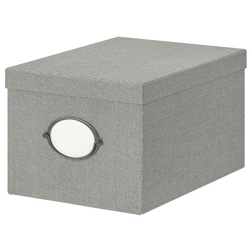 "KVARNVIK storage box with lid gray 13 ¾ "" 9 ¾ "" 7 ¾ """
