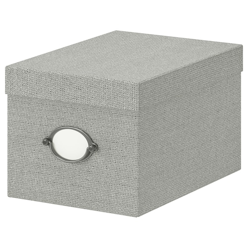 "KVARNVIK storage box with lid gray 9 ¾ "" 7 "" 6 """