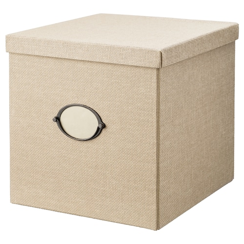 "KVARNVIK storage box with lid beige 13 ¾ "" 12 ½ "" 12 ½ """