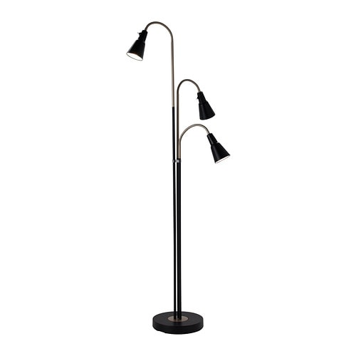 KVART Floor lamp with 3-spotlights IKEA You can adjust each of the lamp heads and switch them on and off individually, so you can use one or all three.