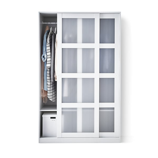 "KVIKNE wardrobe with 2 sliding doors white 47 1/4 "" 22 1/2 "" 74 3/4 """