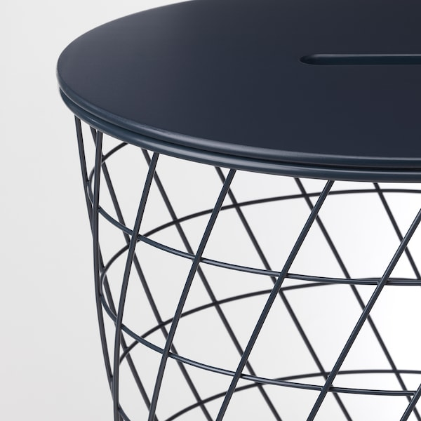 "KVISTBRO Storage table, dark blue, 17 3/8 """