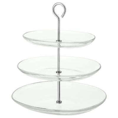 KVITTERA Serving stand, 3 tiers, clear glass/stainless steel