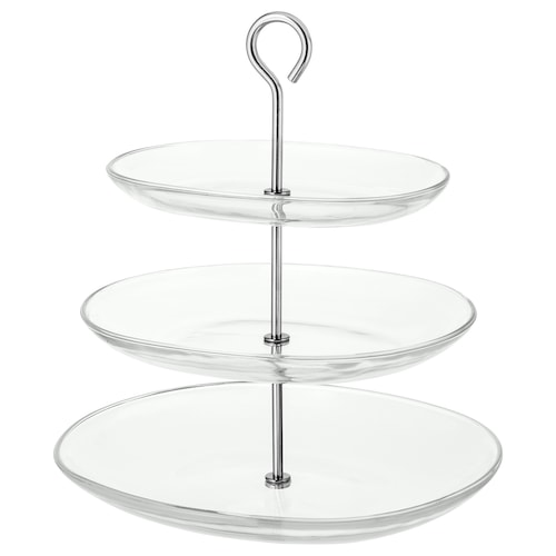 """KVITTERA serving stand, 3 tiers clear glass/stainless steel 12 ¼ """" 10 ¾ """" 13 ½ """""""