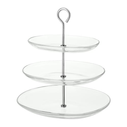 Kvittera Serving Stand 3 Tiers Clear Glass Stainless Steel