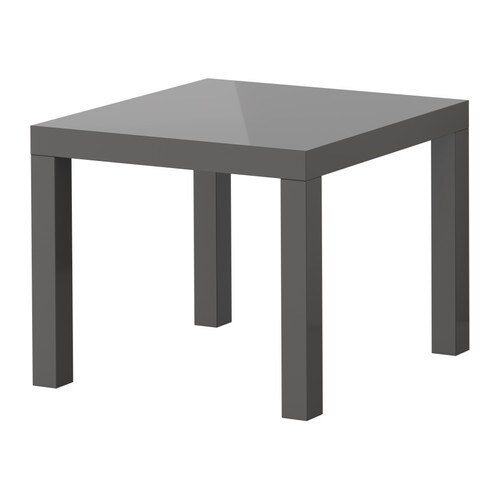 "LACK Side table, high gloss gray Length: 21 5/8 "" Width: 21 5/8 "" Height: 17 3/4 "" Max. load: 55 lb  Length: 55 cm Width: 55 cm Height: 45 cm Max. load: 25 kg"