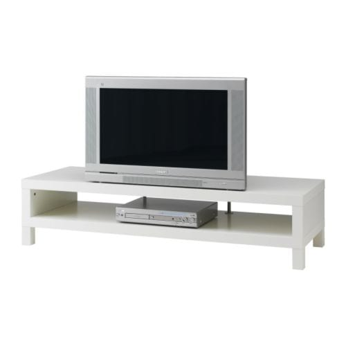 LACK TV unit IKEA Open back; makes cable organizing easy.  Supporting leg increases the stability of the TV bench.