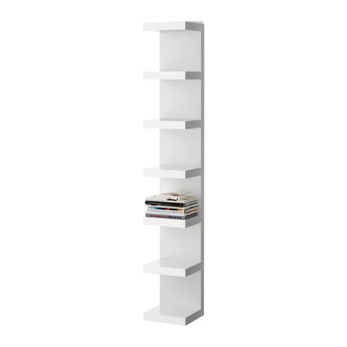 "LACK Wall shelf unit, white Width: 11 3/4 "" Depth: 11 "" Height: 74 3/4 "" Max. load: 55 lb Max load/shelf: 7 lb  Width: 30 cm Depth: 28 cm Height: 190 cm Max. load: 25 kg Max load/shelf: 3 kg"
