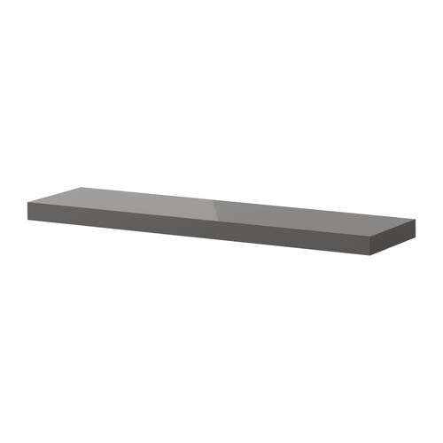 "LACK Wall shelf, high gloss gray Length: 43 1/4 "" Depth: 10 1/4 "" Thickness: 2 ""  Length: 110 cm Depth: 26 cm Thickness: 5 cm"