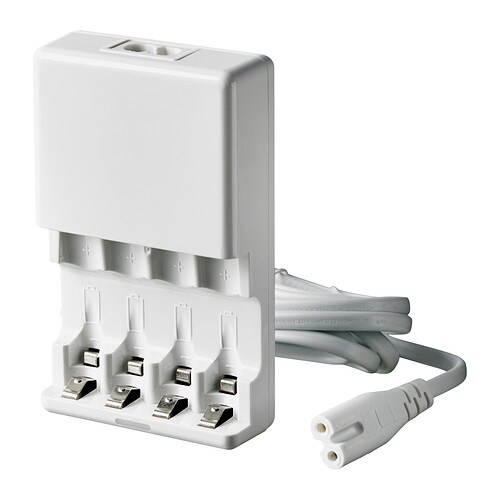 LADDA Battery charger IKEA Four individual charging channels allow you to charge 1 or up to 4 batteries at a time.