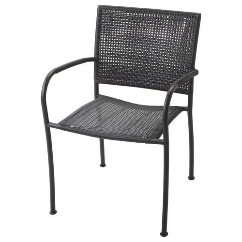 """LÄCKÖ armchair, outdoor gray 243 lb 22 """" 23 5/8 """" 32 1/4 """" 16 1/2 """" 16 1/2 """" 16 1/2 """""""