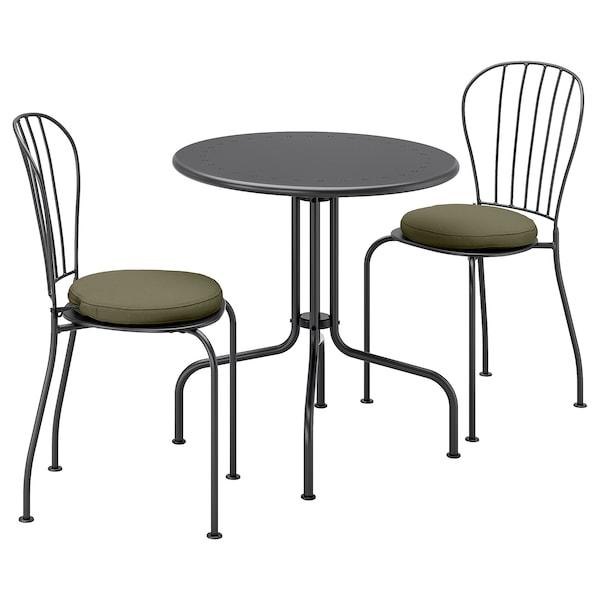 LÄCKÖ Table+2 chairs, outdoor, gray/Frösön/Duvholmen dark beige-green