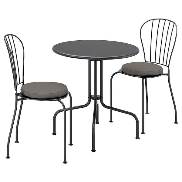 LÄCKÖ Table+2 chairs, outdoor, gray/Frösön/Duvholmen dark gray