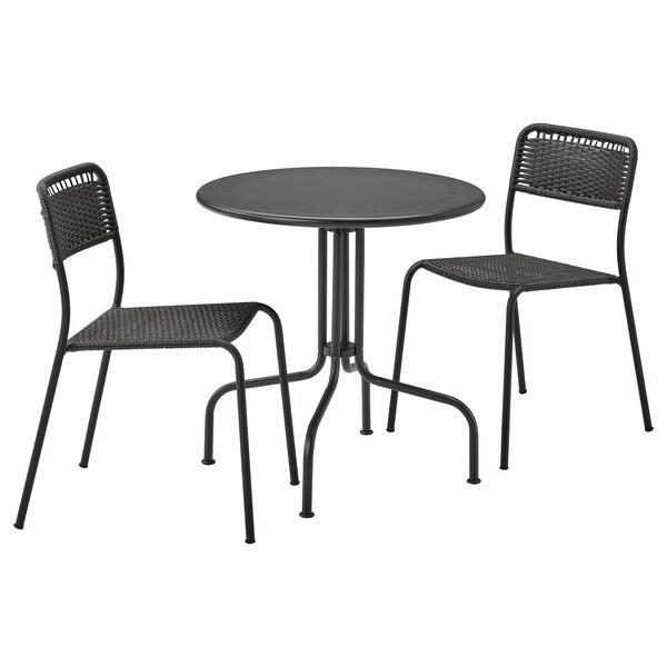 LÄCKÖ / VIHOLMEN Table+2 chairs, outdoor, gray/dark gray