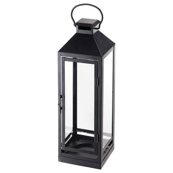 "LAGRAD Lantern for candle, indoor/outdoor, black, 17 """