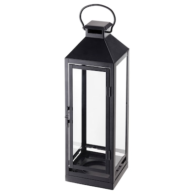 LAGRAD Lantern for candle, indoor/outdoor, black, 17 ""