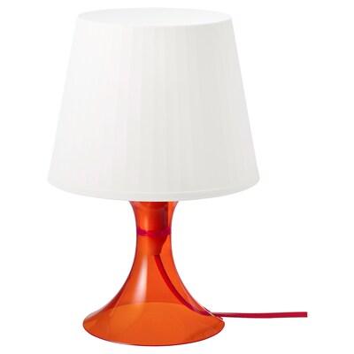 "LAMPAN Table lamp with LED bulb, orange/white, 11 """