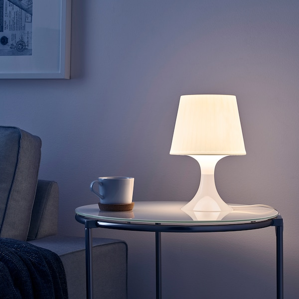 """LAMPAN Table lamp with LED bulb, white, 11 """""""
