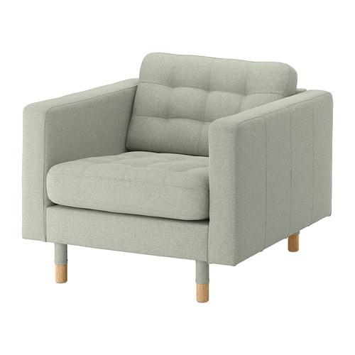 LANDSKRONA Armchair - Gunnared light green, wood - IKEA