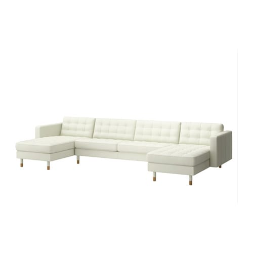 Landskrona 2 chaise lounges sofa grann bomstad white for Couch with 2 chaise lounges