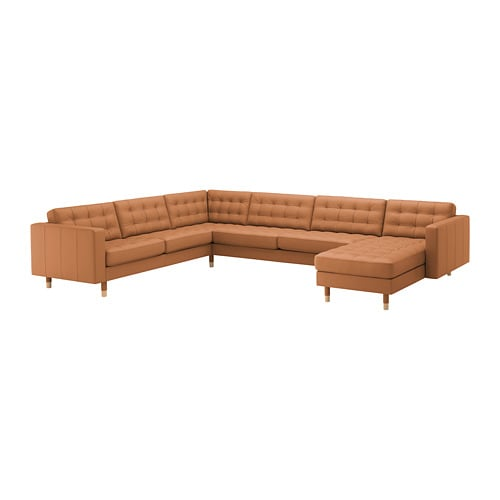 LANDSKRONA Sectional, 5-seat, with chaise, Grann/Bomstad golden brown/wood