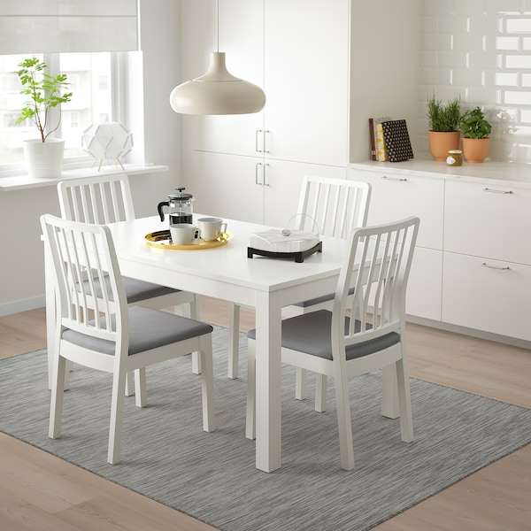 LANEBERG / EKEDALEN Table and 4 chairs, white/white light gray, 51 1/8/74 3/4x31 1/2 ""