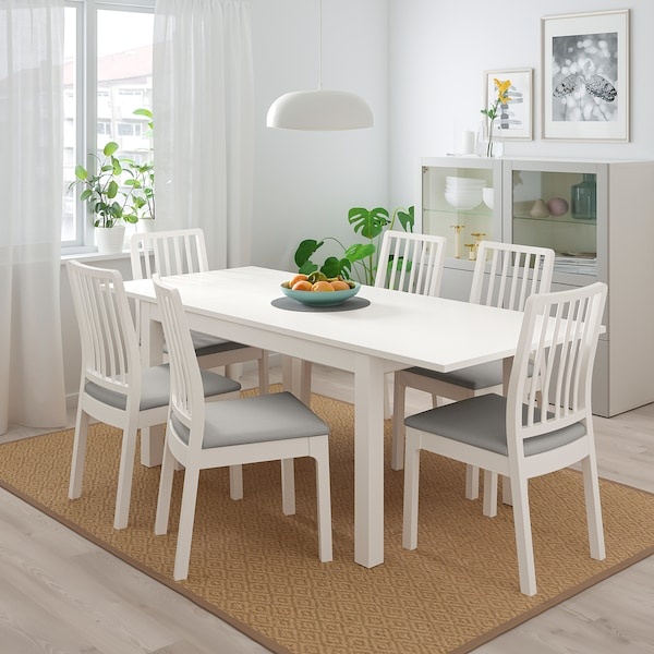 Pleasant Table And 4 Chairs Laneberg Ekedalen White White Light Gray Machost Co Dining Chair Design Ideas Machostcouk