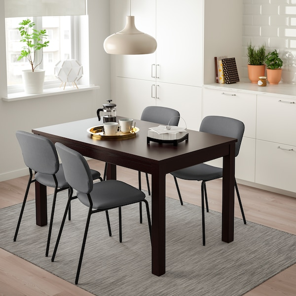 "LANEBERG / KARLJAN Table and 4 chairs, brown/dark gray dark gray, 51 1/8/74 3/4x31 1/2 """