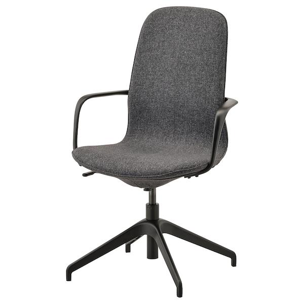 LÅNGFJÄLL Conference chair with armrests, Gunnared dark gray/black
