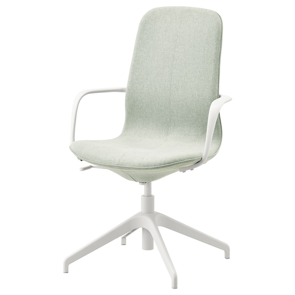 "LÅNGFJÄLL conference chair with armrests Gunnared light green/white 243 lb 26 3/8 "" 26 3/8 "" 41 "" 20 7/8 "" 16 1/8 "" 16 7/8 "" 20 7/8 """