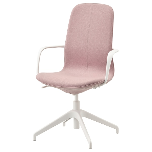 "LÅNGFJÄLL conference chair with armrests Gunnared light brown-pink/white 243 lb 26 3/8 "" 26 3/8 "" 41 "" 20 7/8 "" 16 1/8 "" 16 7/8 "" 20 7/8 """