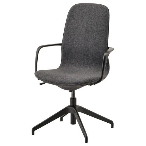 """LÅNGFJÄLL conference chair with armrests Gunnared dark gray/black 243 lb 26 3/8 """" 26 3/8 """" 41 """" 20 7/8 """" 16 1/8 """" 16 7/8 """" 20 7/8 """""""