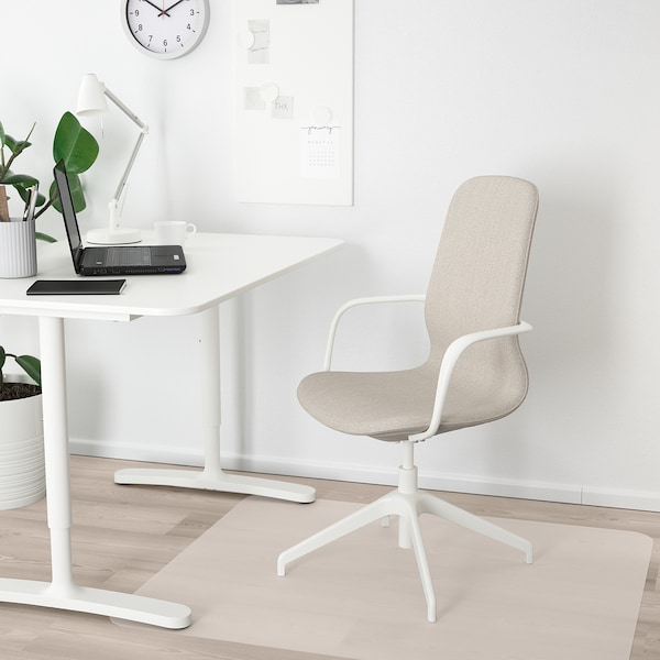 """LÅNGFJÄLL conference chair with armrests Gunnared beige/white 243 lb 26 3/8 """" 26 3/8 """" 41 """" 20 7/8 """" 16 1/8 """" 16 7/8 """" 20 7/8 """""""