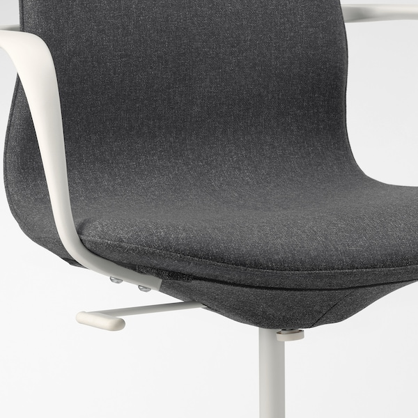 "LÅNGFJÄLL conference chair with armrests Gunnared dark gray/white 243 lb 26 3/8 "" 26 3/8 "" 41 "" 20 7/8 "" 16 1/8 "" 16 7/8 "" 20 7/8 """