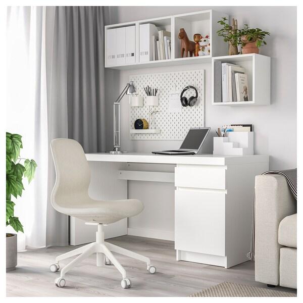 LÅNGFJÄLL Office chair, Gunnared beige/white
