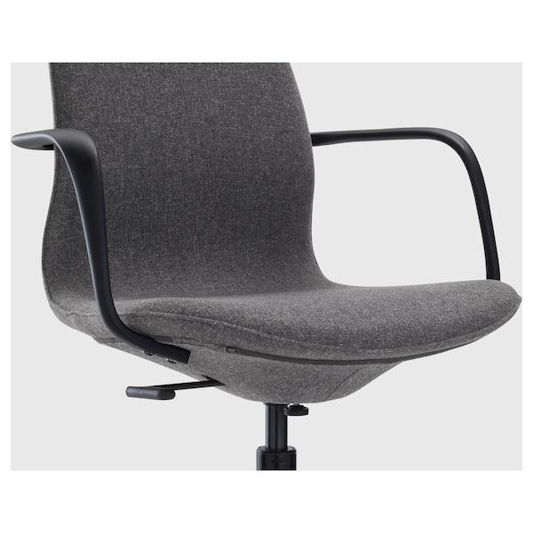 LÅNGFJÄLL Office chair with armrests, Gunnared dark gray/black