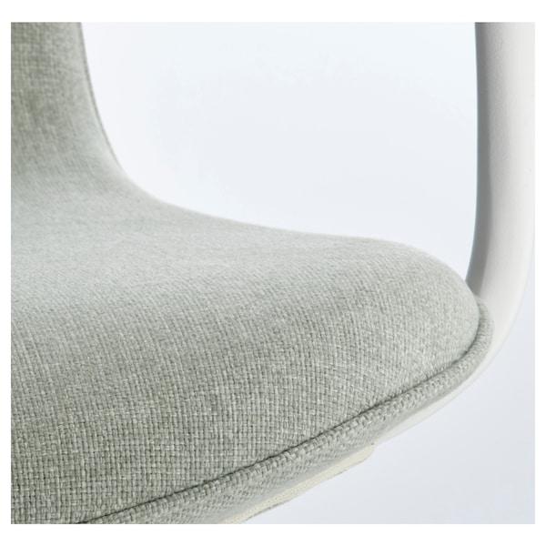LÅNGFJÄLL Office chair with armrests, Gunnared light green/white