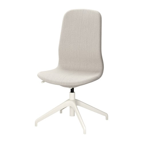 LÅNGFJÄLL Swivel chair, Gunnared beige, white Gunnared beige white