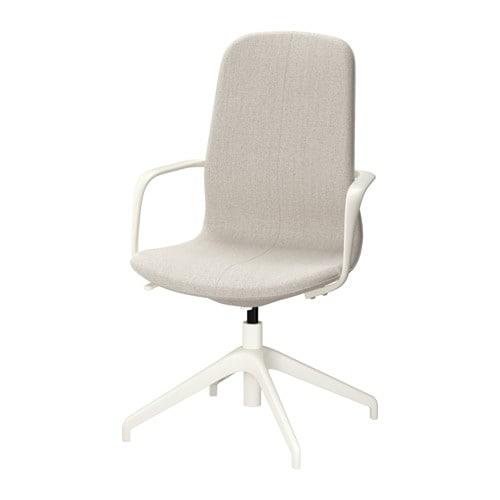 lÅngfjÄll swivel chair - gunnared beige, white - ikea, Modern Dekoo