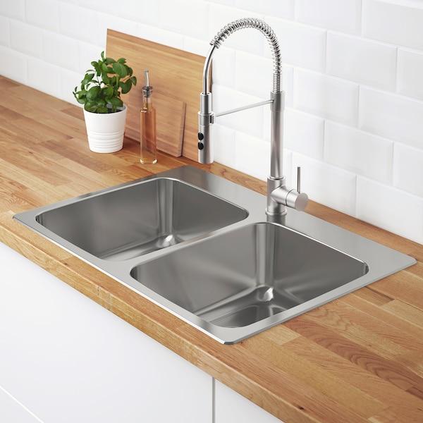 "LÅNGUDDEN Double bowl top mount sink, stainless steel, 29 1/2x20 5/8 """